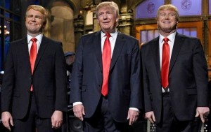 Taran Killam, Donald Trump e Darrell Hammond al Saturday Night Live del 7 novembre 2015 (Dana Edelson/NBC/NBCU Photo Bank, Getty Images)