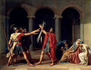 "Jacques-Louis David, ""Il giuramento degli Orazi"" (Musée du Louvre, Parigi)"